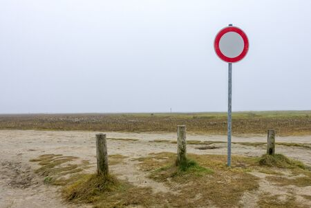 traffic sign on the beach