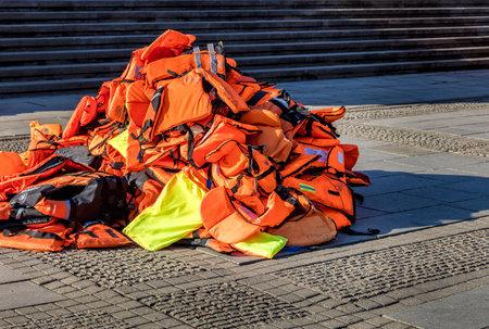 lifejacket: red lifejacket Editorial