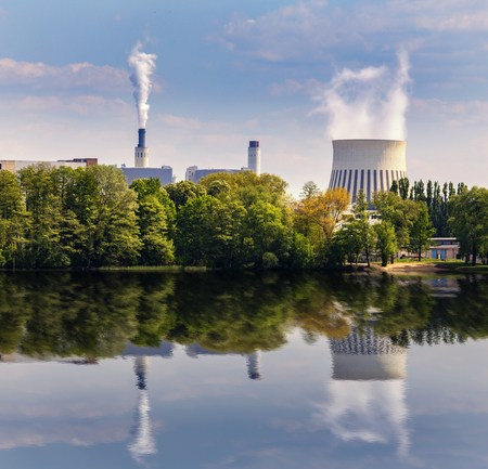 electricity providers: Industrial plant on the waterfront in Berlin