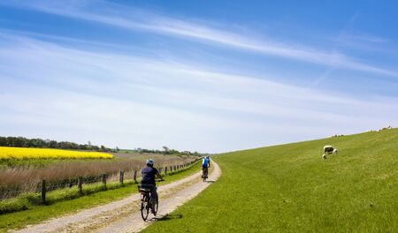 feld: Cyclists in Northern Germany Stock Photo