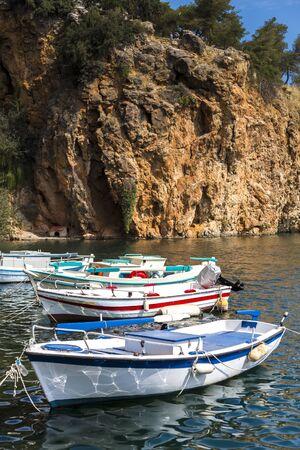 roped: small fishing boats Stock Photo