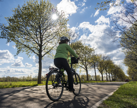 Cyclist on a ride through nature Stock Photo