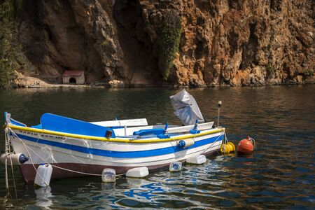 roped: small fishing boat in Greece