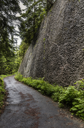 mauer: narrow road in the mountains Stock Photo