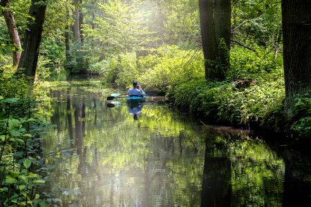 Canoe in the water channel in the Spreewald Stock Photo