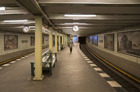 U railway station in berlin Foto de archivo