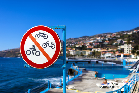 Traffic sign at a swimming pool on the island of Madeira Stock Photo