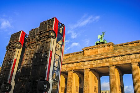Monument in front of the Brandenburg Gate in Berlin Stock Photo