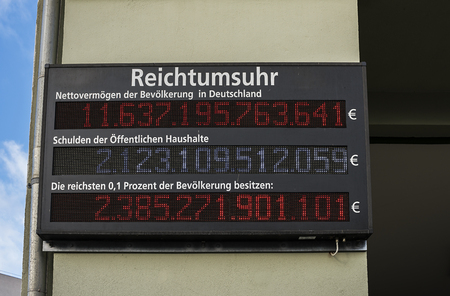 Wealth Clock at Schiffbauerdamm in Berlin Stock Photo