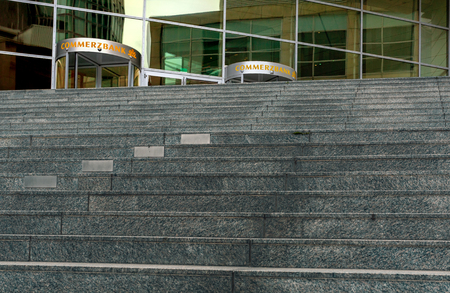 Stairway to the bank building of Commerzbank in Frankfurt am Main