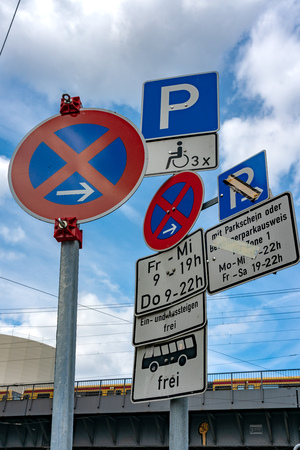 mess of traffic signs Stockfoto