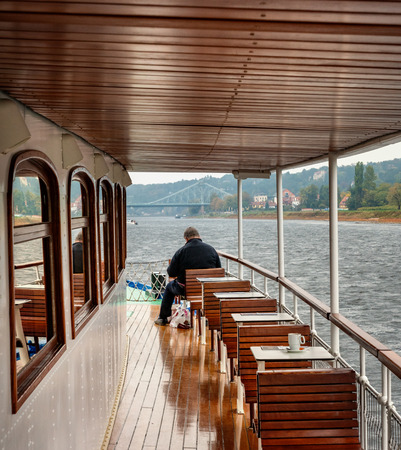 on the deck of a pleasure boat on the River Elbe near Dresden