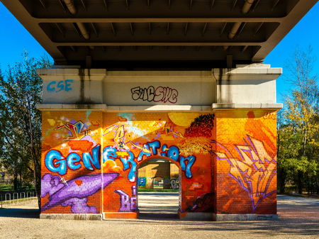 Graffiti on a bridge in the Gleisdreieck Park in Berlin Stockfoto - 121979395