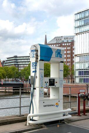 Tankstelle für Wasserstoff in der Hamburger Speicherstadt Standard-Bild