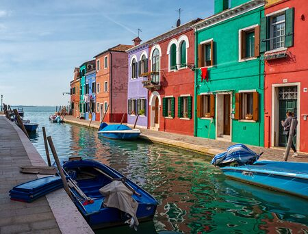 Colorful houses on the island Burano at Venice Stockfoto