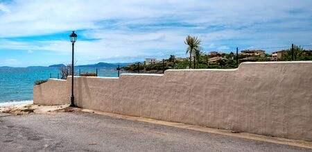 Wall of land on a villa by the sea