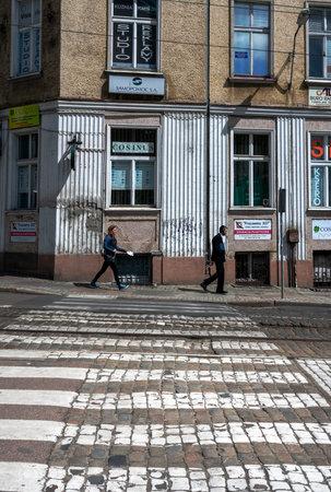 Pedestrian crossing in Szczecin, Poland 報道画像