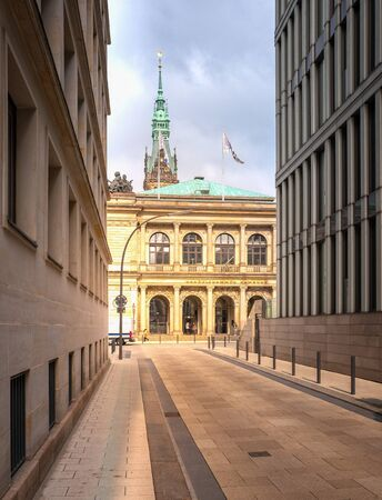Street overlooking the chamber of commerce in hamburg