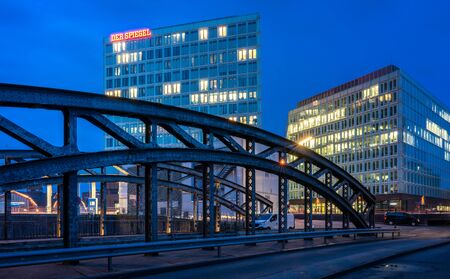 Night photo from the publishing house of the Spiegel in Hamburg