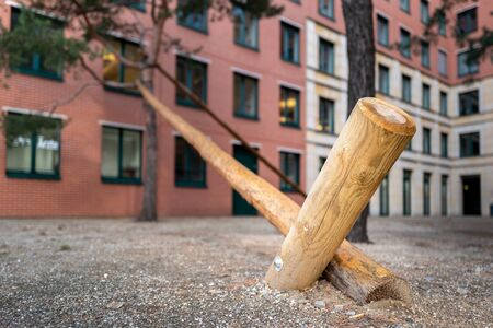 Wooden supports for a tree in Berlins new construction quarter, Germany