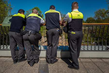 Security staff of berliner Verkehrsbetriebe taking a break