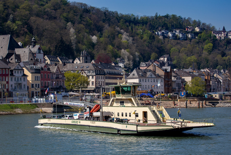 Ferry on the rhine near the lorelei
