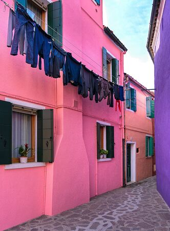 Colorful houses in burano near venice