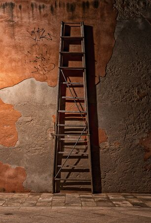 A wooden ladder stands on a house wall in the city of Venice