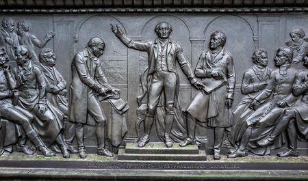 Bronze figures at the Freiherr von Stein monument in Berlin