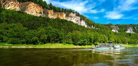 Steamboat on the Elbe in Saxon Switzerland Banque d'images