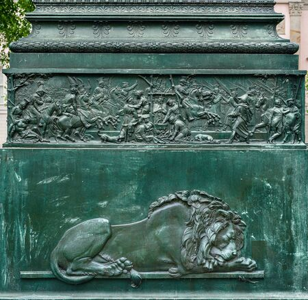 Pedestal with symbols at the monument of Yorck in Berlin