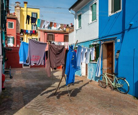 Laundry in a backyard on the island of Burano near Venice