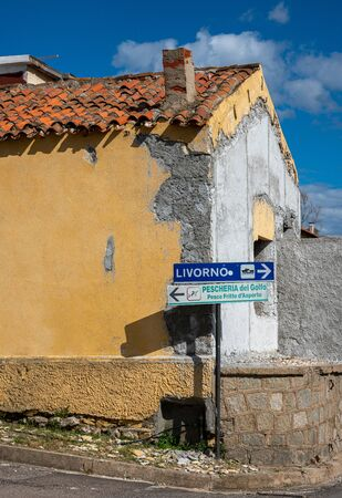 Houses, beach, rocks and attractions in Sardinia, Italy