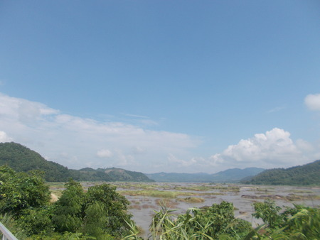 sightsee: Laos , hill and mountain , sightseeing from Mekong , Thailand.