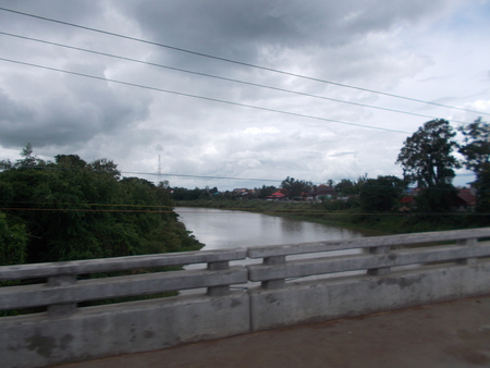 mahasarakham: The Chi River at Mahasarakham in Thailand Stock Photo