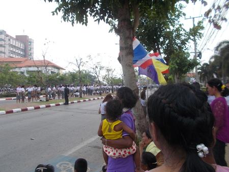 good bye: MAHASARAKHAM -MAR 22: People are waiting to say good bye to Her Royal Highness Princess Maha Chakri Sirindhorn in Mahasarakham Universitys Graduation ceremony for academic year 2014 - 2015 on March 22, 2016 in Mahasarakham, Thailand.