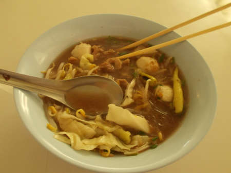 White noodles and thicken soup.