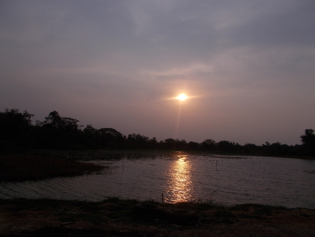 mahasarakham: Sunrise over the river at Mahasarakham Stock Photo