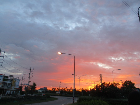 mahasarakham: Sunset downtown at Mahasarakham, Thailand Stock Photo