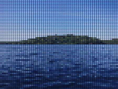 湖のモザイクの抽象的な背景の島