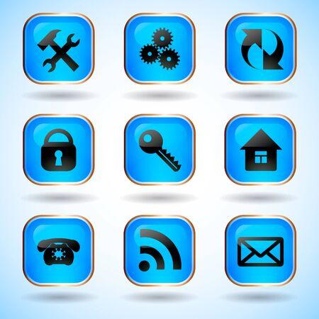 site: Set of Common Web Site Buttons Illustration