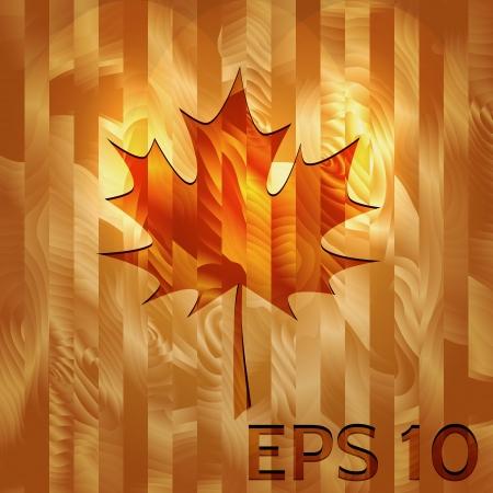 Maple Leaf Embossed on Hardwood Texture