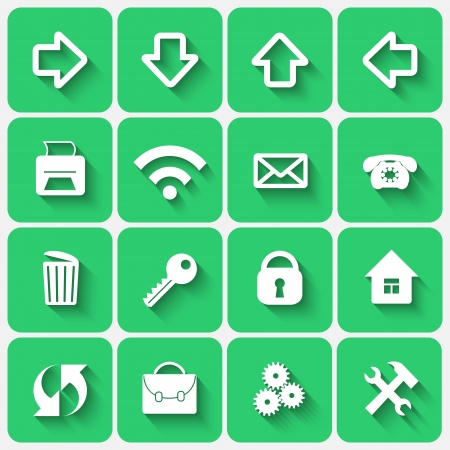 Vector Set of Emerald Green Flat Style Square Buttons with Office Web site Theme Vettoriali