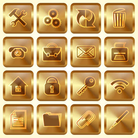 Vector Set of Golden Square Buttons with Office WebSite Theme Vector