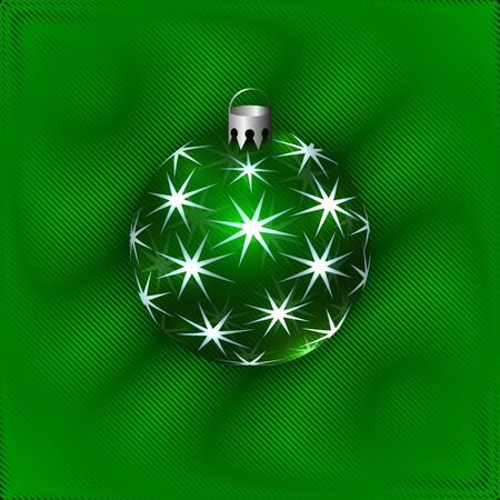Vector Illustration of Green Christmas Decorative Ball with Stylized Stars on the Soft Drapery Background Çizim