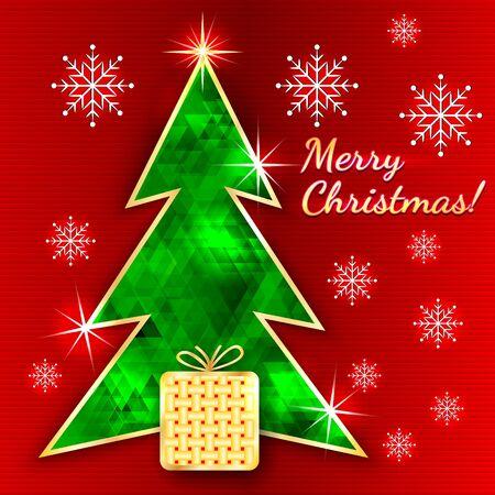 Carte de voeux de Noël avec des arbres, de cadeaux et des flocons de neige Banque d'images - 23194180