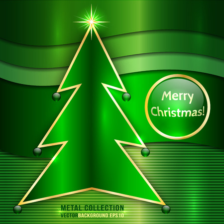 Vector Christmas Card With Metallic Christmas Tree and Star on Green Metal Background