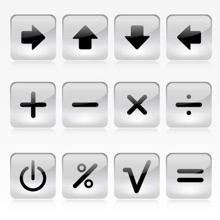 Vector Set of Grey Square Calculator Buttons Illusztráció