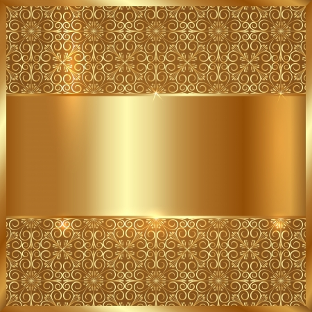 Vector gold metal plate with ornament background