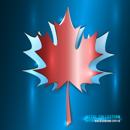 blue metallic background: Vector Metallic Red Maple Leaf Cut from Blue Background